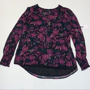 1 State blouse Long sleeves with smocked cuffs
